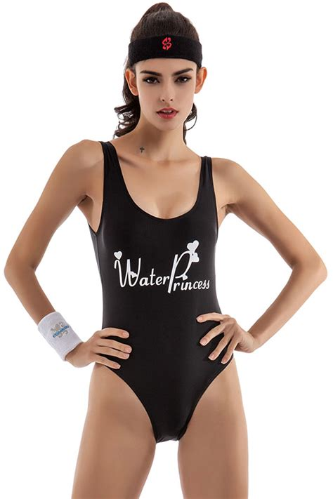 Mermaid Vest Import Bangkok Bkk womens letter printed plain sleeveless one swimsuit black pink