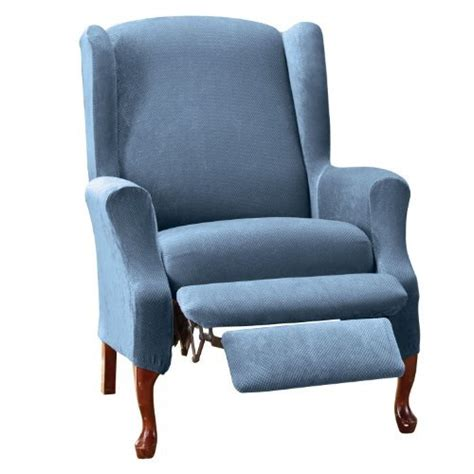 Wingback Recliner Slipcovers by Sure Fit Stretch Pique Wing Recliner Slipcover From