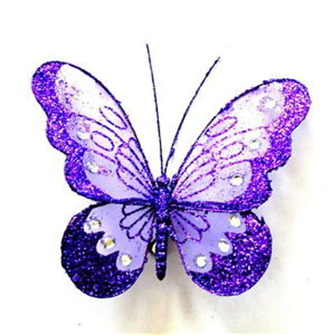 Decorative Butterflies With by X Large Decorative Clip Jewelled Purple Glitter Butterfly