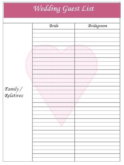 Printable Wedding Planner Sheets
