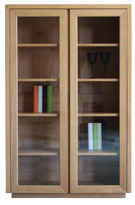 bibliotheque vitrine vitrine biblioth 232 que 2 portes vitr 233 es ch 234 ne naturel bois 100 massif
