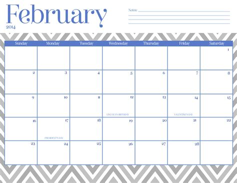 chevron february 2015 calendar printable
