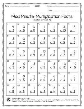 mad minute multiplication facts   pack tpt