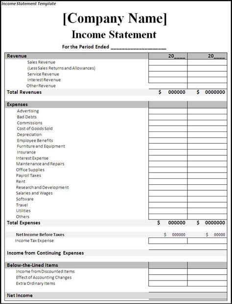 template income expense statement template