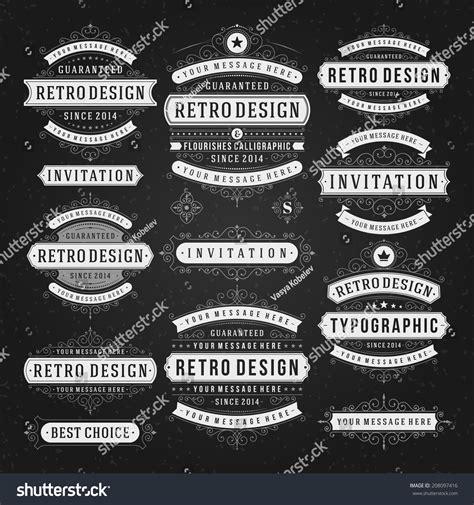 vintage vector design elements retro style typographic vintage vector design elements chalk style stock vector