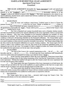 maryland residential tenancy lease agreement maryland