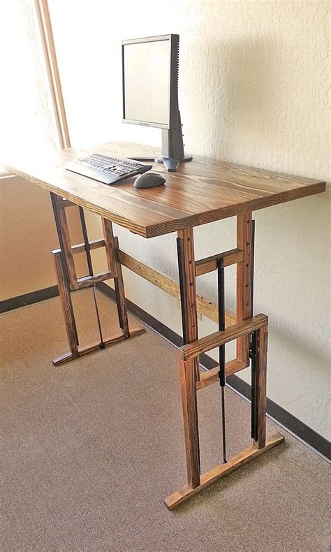 wood diy standing desk ideas for computer minimalist