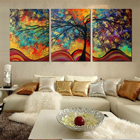 large wall home decor abstract tree painting colorful