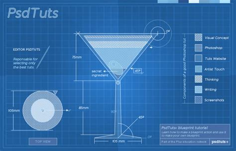 powerpoint tutorial photoshop create a cocktail blueprint using actions in photoshop