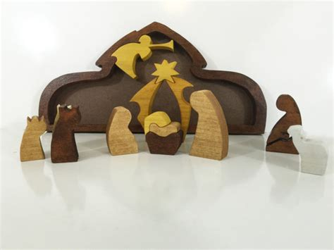 Handmade Wooden Nativity Sets - wooden nativity puzzle holy family shepherd and wisemen