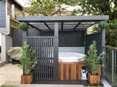 Modern Grey Pergola Lazy Spa Hot Tub Iroko Surround Https Tub Pergola