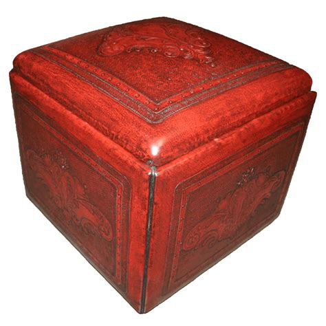 tooled leather ottoman red box ottoman with fleur de lys tooled leather