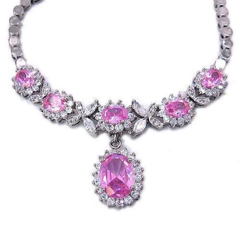 pink necklace pink sapphire necklace ebay