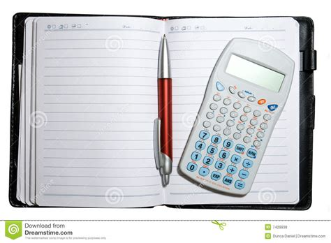calculator open open notebook with pen and calculator royalty free stock
