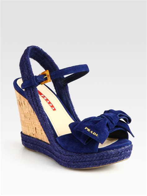 blue wedge sandals prada suede espadrille slingback wedge sandals with bow in