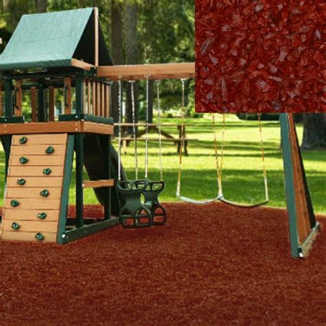 swing set rubber flooring playground recycled rubber mulch cedar red