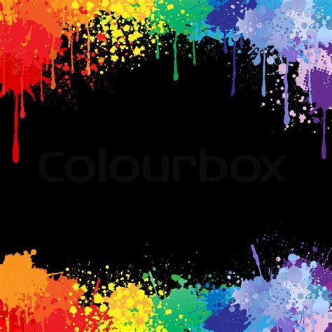 Popular Blue Paint Colors by Colorful Bright Ink Splashes On Black Background Stock