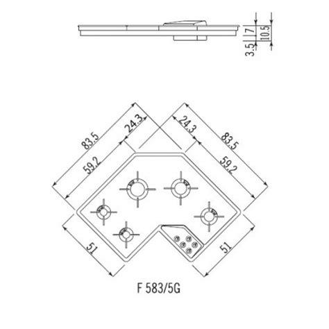 misure piano cottura ad angolo alpes inox piano cottura angolare f5835g alpes inox