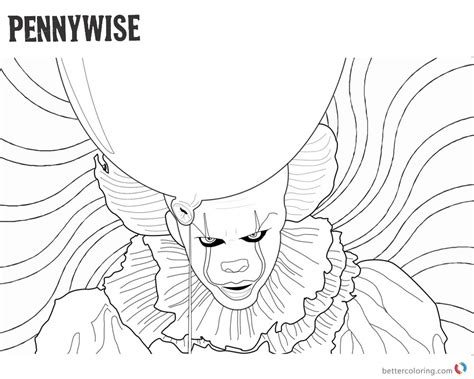 Coloring Pages It clown pennywise coloring pages psychedelic background