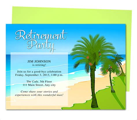 word templates for retirement invitations retirement party invitation template 36 free psd format