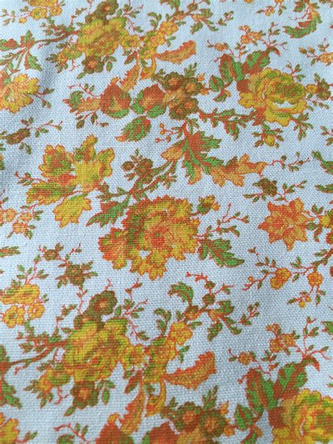 70s fabric vintage 1970s fabric 70s hippie floral cotton fabric for