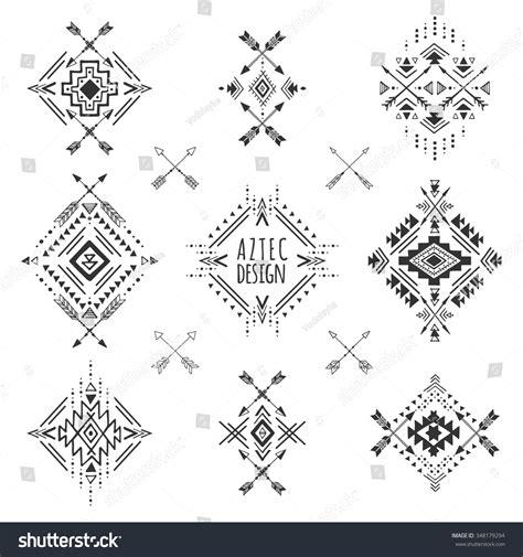 geometric tattoo elements aztec elements tribal geometric symbols tattoos stock