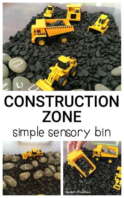 themes black diggers simple construction zone sensory bin
