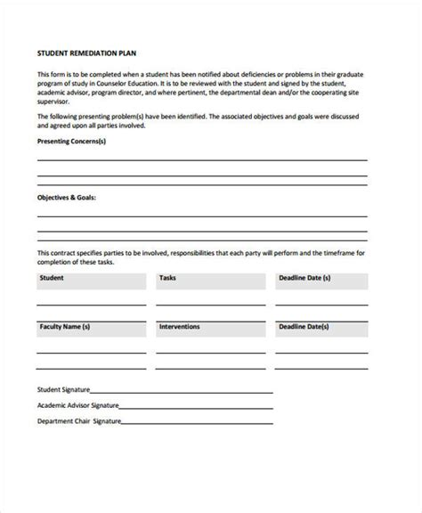 remedial plan template 12 remediation plan templates free sle exle