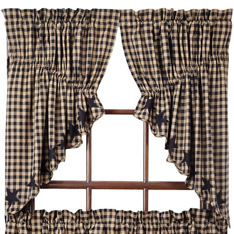 navy star curtains star and check scalloped prairie curtains navy black