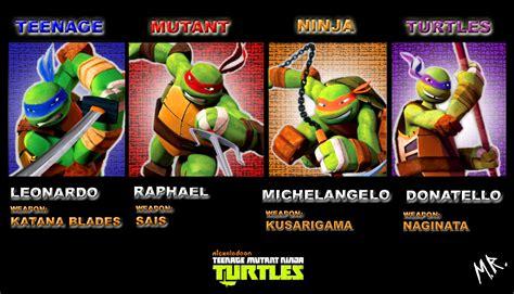 teenage mutant ninja turtles table and teenage mutant ninja turtles names and pictures