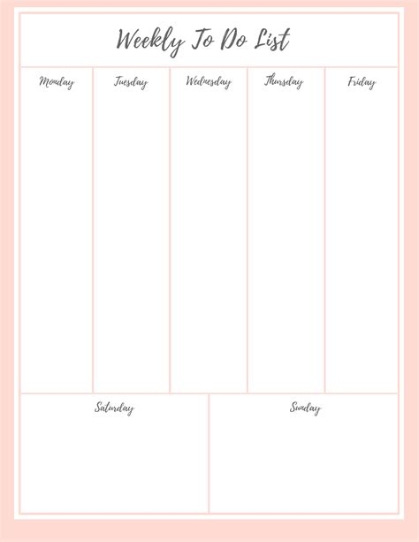 printable 5 day to do list 77 weekly to do list weekly to do list 7 day list