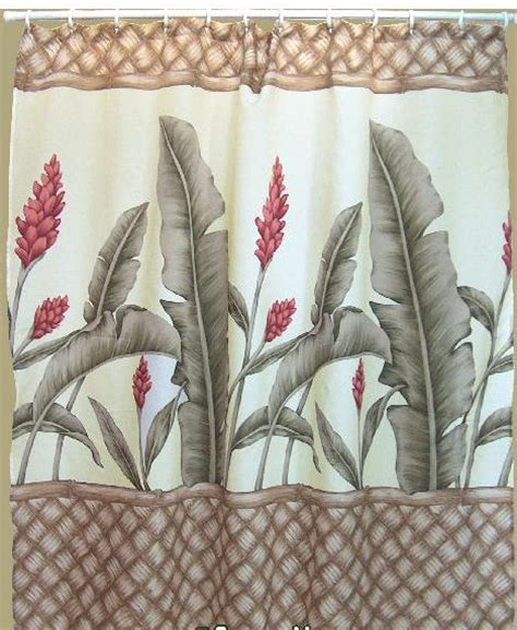 hawaiian curtain fabric hawaiian tropical fabric shower curtain ginger flower