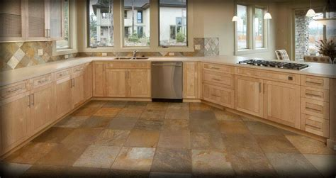 Cream Colored Cabinets With Brown Glaze Stone Tile Flooring Decosee Com