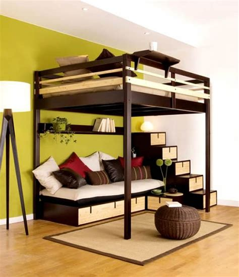 cool loft beds brown stained wooden teenage bunk bed built in stairs and