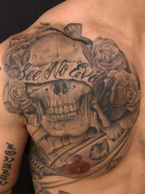 See No Evil Skull By Pepper Tattoonow Evil Skull Tattoos