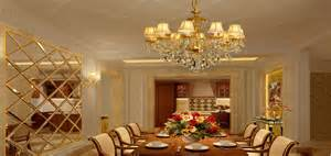 European Style Chandeliers Golden Chandeliers And Partition For Luxury Dining Room