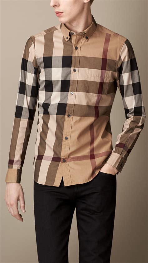 burberry exploded check cotton shirt in brown for lyst
