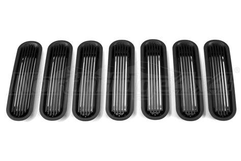 rugged ridge billet grille inserts in black jeep jk rugged ridge outer rings wbillet grill inserts black jeep rubicon 2007 2018 11401 30