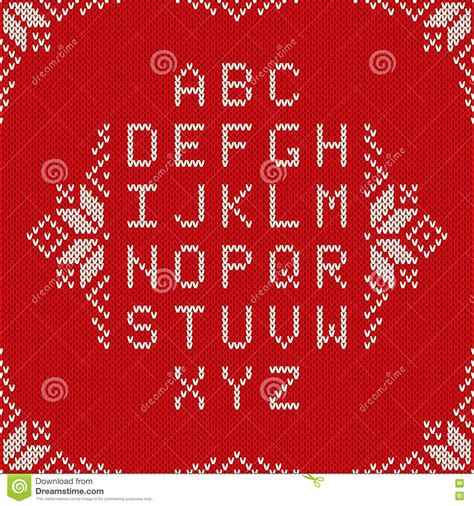 christmas pattern font family knitted latin alphabet on seamless background nordic fair