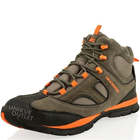 mens steel toe cap saftey light weight leather boots