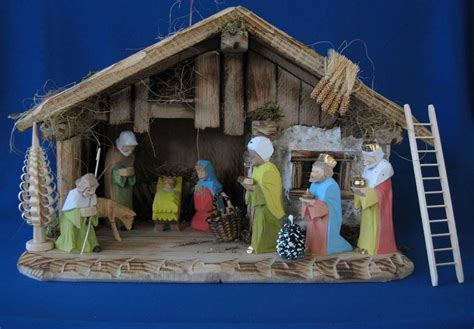jesus christmas crib statue set buy german creche set stable figures trees accessories available at www mygrowingtraditions