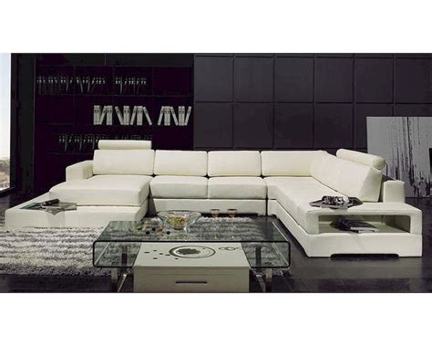 Contemporary White Sectional Sofa Contemporary White Finish Leather Sectional Sofa W Light 44lt63