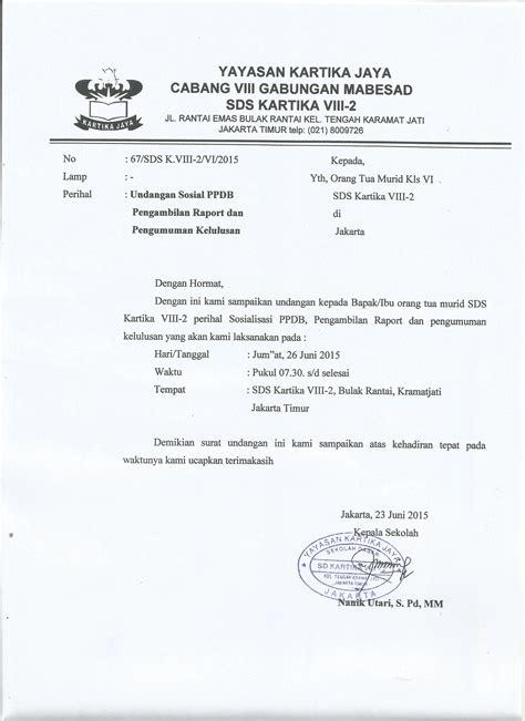 undangan untuk wali murid kelas 6 sds kartika viii 2 jakarta timur