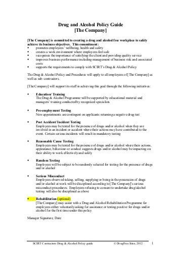 alcohol and drug abuse policy template adecco and policy