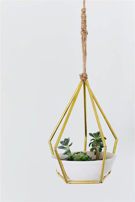 geometric hanging planter diy geometric metal tubing hanging planter