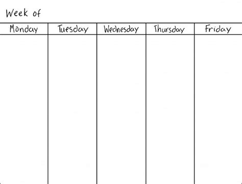 weekday calendar template best 25 weekly calendar template ideas on