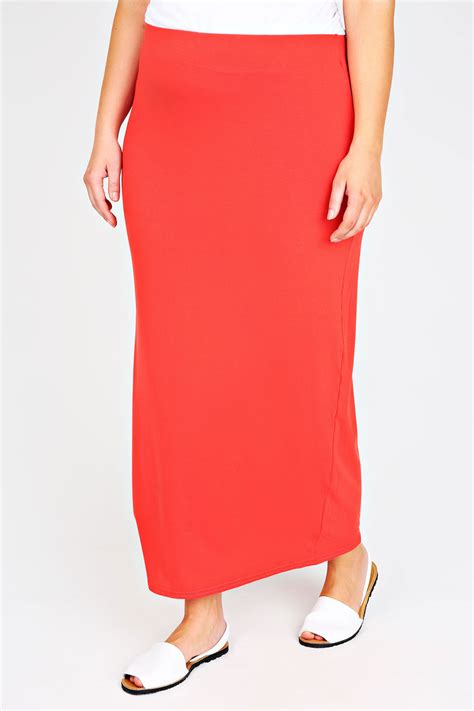 orange maxi skirt with elasticated waist plus size 14