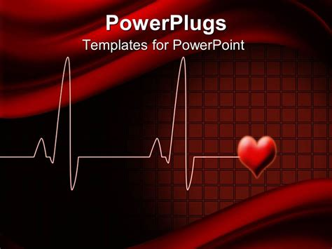 powerpoint template electrocardiogram wave lines with