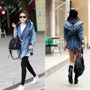 Jaket Korean Hoodie 19 Grayscale Size fashion s denim trench coat hoodie outerwear