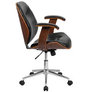 Wooden Desk Chair With Arms Mid Back Black Leather Executive Wood Swivel Chair With
